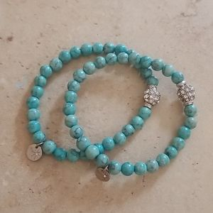 Two (2) turquoise beaded bracelets (stretch)